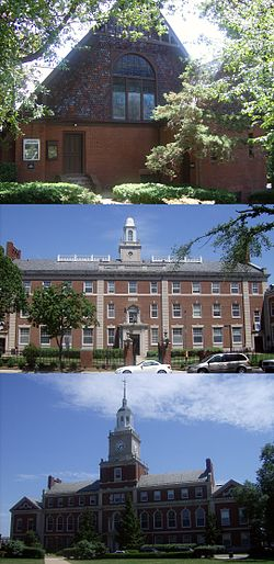Andrew Rankin Chapel, Douglass Hall, and Founders Library at Howard University.jpg