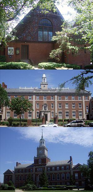 Andrew Rankin Memorial Chapel, Frederick Douglass Memorial Hall, Founders Library - Image: Andrew Rankin Chapel, Douglass Hall, and Founders Library at Howard University