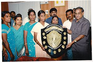 Andrews Matriculation School - Maria Priyanka getting District First Award from Collector - 2009