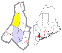 Location of Turner (in yellow) in Androscoggin County and the state of Maine