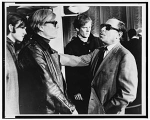 Andy Warhol (left) and Tennessee Williams (rig...