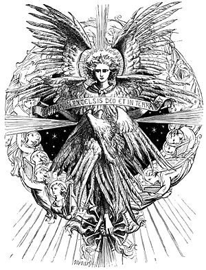 """Gloria in excelsis Deo - Angel with the words """"Gloria in Excelsis Deo et in terra pax"""" by Dalziel Brothers"""