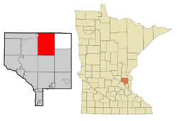 Location of the city of East Bethel within Anoka County, Minnesota