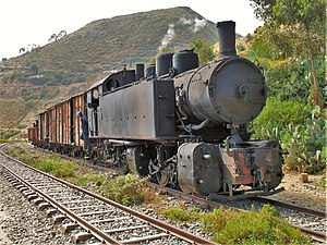 Transport in Eritrea - This steam locomotive dating from the 1930s still operates, carrying both freight and tourists.