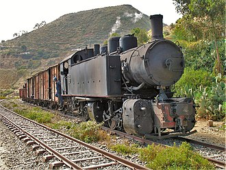 "Mogadishu–Villabruzzi Railway - A ""Ansaldo 442"" steam locomotive, built in 1938 for the Eritrean Railway, is similar to those used in the Somali railway."