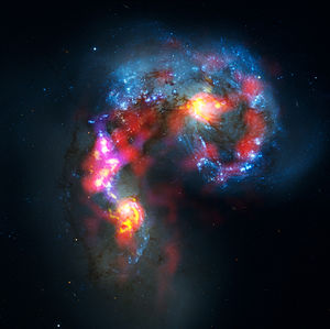 Antennae Galaxies composite of ALMA, VLA, CTIO...