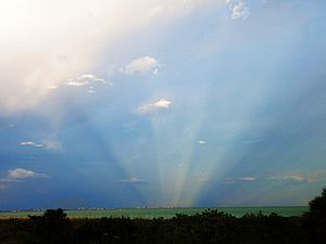 Crepuscular rays - Anticrepuscular rays opposite the setting sun off the Florida Gulf Coast of the United States
