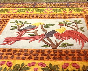 Sawdust carpet - Part of a carpet made for Holy Week in Antigua Guatemala