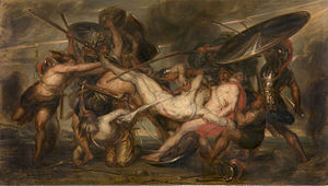 The Greeks and the Trojans Fighting over the Body of Patroclus - Image: Antoine Wiertz 19th C Battle of the Greeks and Trojans for the corpse of Patroclus KMSKA 1183