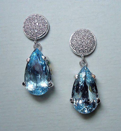 Aquamarine & diamonds earrings 01