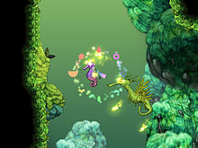 A mermaid-like woman swims to the left of the screen. A large seahorse floats behind her, while a larger green seahorse floats to the right. Plants and rock formations are seen around her and in the background in a faded green.