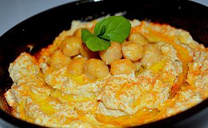 Middle Eastern cuisine - Hummus, a Levantine and Egyptian dip made from mashed chickpeas