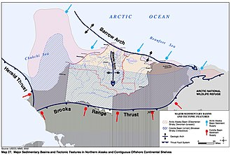 Alaska North Slope - Map from the US Bureau of Land Management showing structures that create the oil fields in Alaska