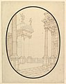 Architectural Perspective, in an Oval- Porch of a Palace with Corinthian Colums. MET DP820196.jpg