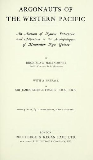 Argonauts of the Western Pacific - Cover of the first edition