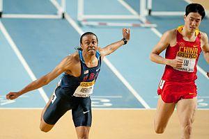 2012 IAAF World Indoor Championships – Men's 60 metres hurdles - Aries Merritt en route to victory.