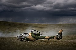 Army Gazelle Helicopter on Training Exercise at BATUS in Canada MOD 45153753.jpg