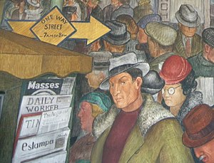 Victor Arnautoff - Another part of the City Life mural, featuring a self-portrait of Arnautoff, near a magazine rack containing socialist/communist magazines.