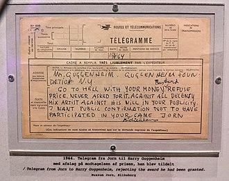 Asger Jorn - Asger Jorn's telegram to Guggenheim.