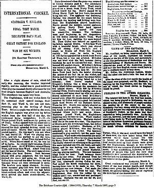 English cricket team in Australia in 1894–95 - 1895 newspaper article describing the fifth day of the final deciding Ashes match