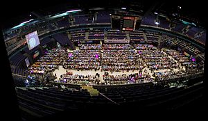 Assembly (demoparty) - Panorama view over the Assembly 2002 event.