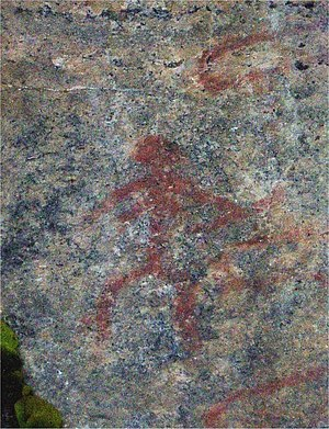 Finnish rock art - A woman figure with a bow - the Tellervo of Astuva - a rarity among the rock paintings.