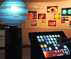 Angelo State University - Touch-screen controlled OmniGlobe outside the ASU Planetarium in the Physics building