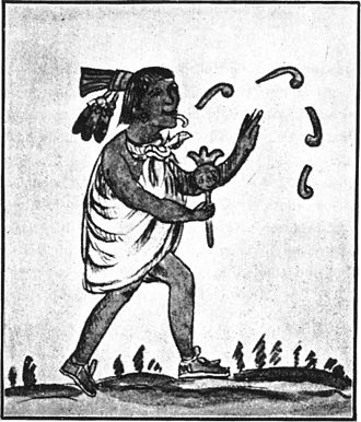 Atlahua - Aztec singing and dancing presumably to Atlahua  god, an illustration from Rig Veda Americanus, an 1890 book on American aboriginal literature