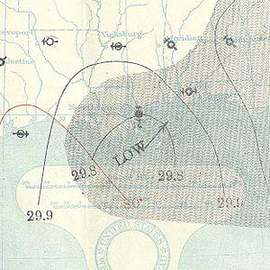 1895 Atlantic hurricane season - Image: August 16, 1895 tropical storm 1 map