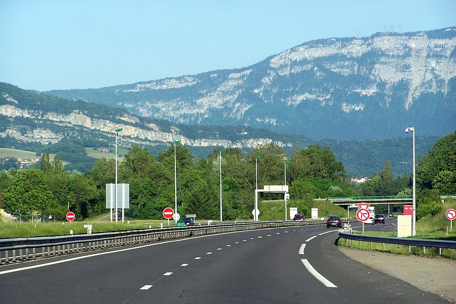 French motorway A43 soon entering department of Savoie in direction of Chambéry. At the background can be seen the Mont Tournier mount and the chaîne de l'Épine chain.