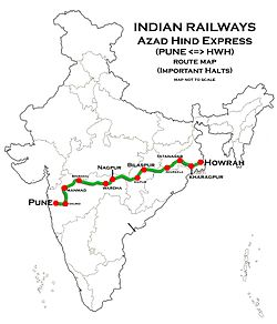 Azad Hind Express (Pune - Howrah) Route map.jpg