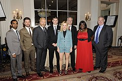 Aziz Ansari, Adam Scott, Nick Offerman, Mike Schur, Amy Poehler, Horace Newcomb, Retta and Jim O'Heir, May 2012.jpg