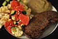 Bøf med auberginecreme og salat af blomkål, grape og agurk (8139213731).jpg