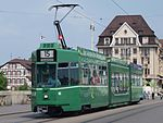 BVB Tram car 683, line 15 towards Bruderholz at Basel, Switserland.JPG