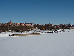 Lakeside view of Östersund in March 2008