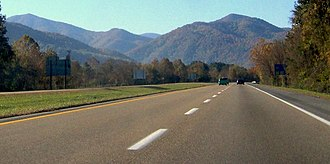 Interstate 26 - I-26 approaching the Bald Mountains near Erwin