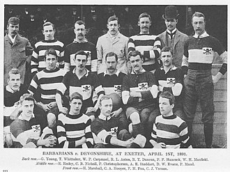 Barbarian F.C. - Barbarians team that played Devonshire at Exeter, 1 April 1891