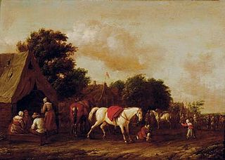 Peasants by a cottage with a horse stalling