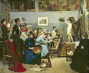 Atelier - Robert-Fleury's Atelier at Académie Julian for female art students - painting by student Marie Bashkirtseff (1881)