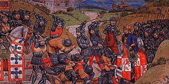 Representação medieval da batalha de Aljubarrota