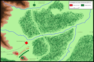 Battle of Vosges (58 BC) - Battle between Caesar and Ariovistus (on the lower left) and location of the camps.
