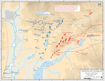 1805年12月1日時点の布陣。フランス軍(青)、連合軍(赤) 12月1日に開かれた連合軍の作戦