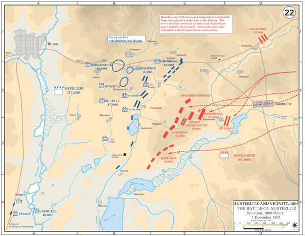 Allied (red) and French (blue) deployments at 1800 hours on 1 December 1805. Battle of Austerlitz, Situation at 1800, 1 December 1805.png