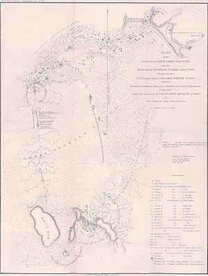Battle of Four Lakes - Map showing the Battle of Four Lakes and the Battle of Spokane Plains
