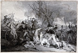 The Death of General Mercer at the Battle of Princeton, January 3, 1777 - Image: Battle of Princeton sketch by Trumbull