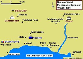 Map of the Battle of Voltri on 10 April 1796
