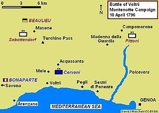 Map shows the Battle of Voltri on 10 April 1796.