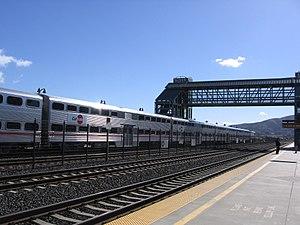 Bayshore station (Caltrain) - A northbound train at Bayshore station in 2012