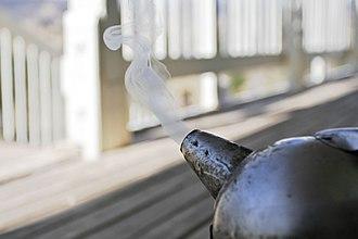 Smoke - Smoke from a bee smoker, used in beekeeping.