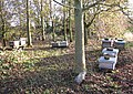 Beehives in small woodland west of Mangreen Hall Farm - geograph.org.uk - 1584302.jpg